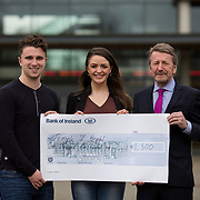10.03.2017<br /> UL, Kemmy Business School Cheque presentations to Pieta House and Temple Street Childrens Hospital.<br /> Pictured are left to right, Sean Fitzgerald, KBS Faculty Rep, Jean Langford, Marketing and Management Rep and Karl Daly, Temple street rep. Picture: Alan Place