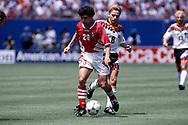 FIFA World Cup - USA 1994<br /> 10.7.1994, Giants Stadium, New York/New Jersey.<br /> World Cup Quarter Final, Bulgaria v Germany.<br /> Krassimir Balakov (Bulgaria) v Thomas Häßler (Germany).