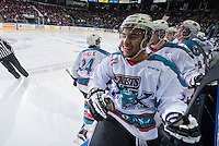 KELOWNA, CANADA - MARCH 21: Tyson Baillie #24 and Tyrell Goulbourne #12 of Kelowna Rockets celebrates a goal against the Vancouver Giants on March 21, 2015 at Prospera Place in Kelowna, British Columbia, Canada.  (Photo by Marissa Baecker/Shoot the Breeze)  *** Local Caption *** Tyson Baillie; Tyrell Goulbourne;