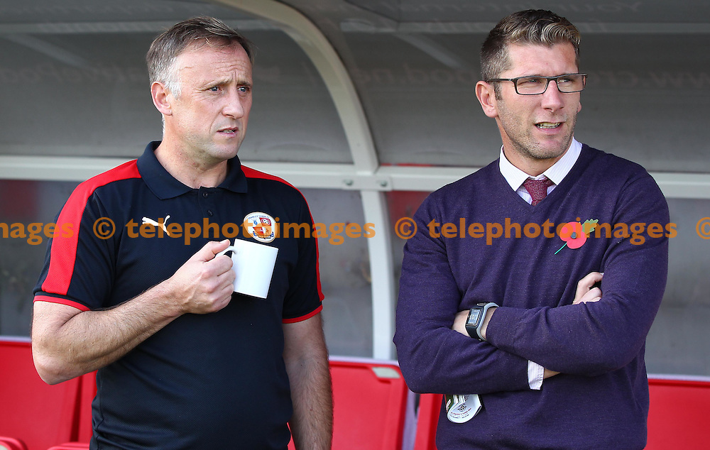 Crawley&rsquo;s Manager Mark Yates chats with Richard Cresswell before the Sky Bet League 2 match between Crawley Town and York City at the Checkatrade.com Stadium in Crawley. October 31, 2015.<br /> James Boardman / Telephoto Images<br /> +44 7967 642437