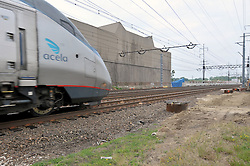 Amtrak Acela movement through the Construction Progress Photography of the Railroad Station at Fairfield Metro Center - Site visit 13 of once per month Chronological Documentation.