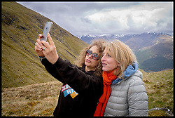 Image ©Licensed to i-Images Picture Agency. 30/05/2015. Fort William, Scotland,United Kingdom. Loose Women Stars L to R Nadia Sawalha, Kaye Adams,  climb Ben Nevis for Climb with Ed in connection with the charity Children with Cancer. Picture by Andrew Parsons / i-Images