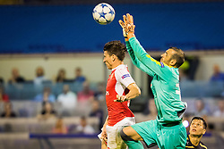 Eduardo Carvalho #24 of GNK Dinamo Zagreb vs Laurent Koscielny #6 of Arsenal F.C. during football match between GNK Dinamo Zagreb, CRO and Arsenal FC, ENG in Group F of Group Stage of UEFA Champions League 2015/16, on September 16, 2015 in Stadium Maksimir, Zagreb, Croatia. Photo by Ziga Zupan / Sportida