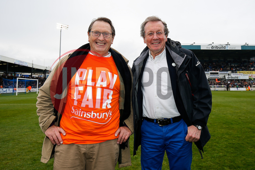 Dr Mike Peirce MBE (CEO of the Southmead Project to address the impact of child abuse) poses with Bristol Mayor George Ferguson wearing a tshirt supporting Bristol Rovers' fight against their treatment by Sainsburys over the sale of their stadium - Photo mandatory by-line: Rogan Thomson/JMP - 07966 386802 - 03/04/2015 - SPORT - FOOTBALL - Bristol, England - Memorial Stadium - Bristol Rovers v Chester - Vanarama Conference Premier.