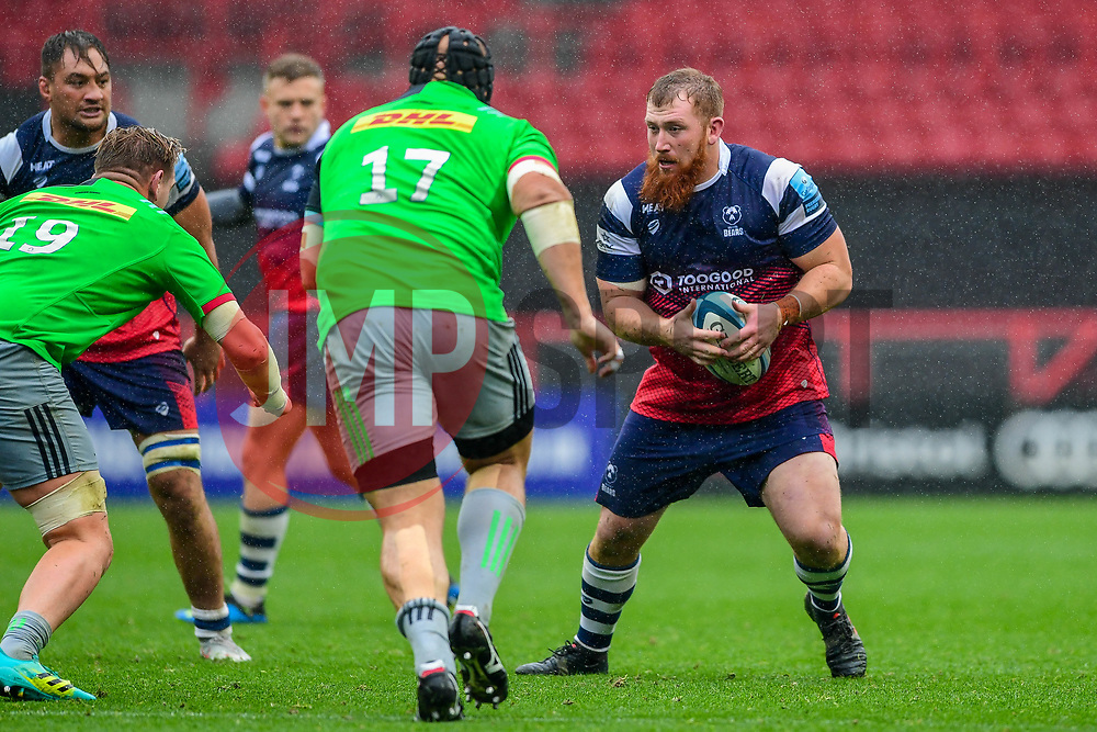 Jake Woolmore of Bristol Bears is marked by Stan South of Harlequins and Mark Lambert of Harlequins - Mandatory by-line: Ryan Hiscott/JMP - 22/09/2018 - RUGBY - Ashton Gate Stadium - Bristol, England - Bristol Bears v Harlequins - Gallagher Premiership Rugby