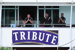 Darren Veness, Pete Sanderson and Director of cricket Matt Maynard applaud Marcus Trescothick as he is dismissed.  - Mandatory by-line: Alex Davidson/JMP - 12/07/2016 - CRICKET - Cooper Associates County Ground - Taunton, United Kingdom - Somerset v Middlesex - Day 3 - Specsavers County Championship Division One