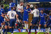 Chelsea defender David Luiz (30) and Tottenham Hotspur midfielder Eric Dier (15) clash in the air during the EFL Cup semi final second leg match between Chelsea and Tottenham Hotspur at Stamford Bridge, London, England on 24 January 2019.