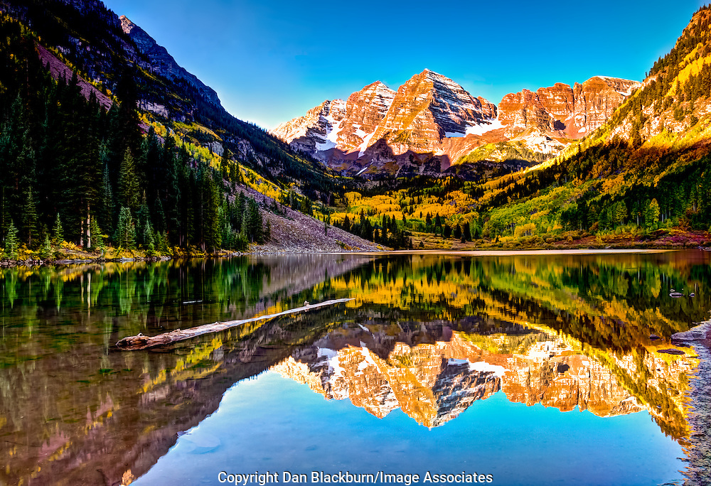 Sunrise on Maroon Bells Colorado With Reflection