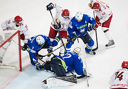 Charles Linglet of Belarus, Klemen Pretnar of Slovenia, Gasper Kroselj of Slovenia, Alexander Kulakov of Belarus, Sabahudin Kovacevic of Slovenia and Andrei Kostitsyn of Belarus during the 2017 IIHF Men's World Championship group B Ice hockey match between National Teams of Slovenia and Belarus, on May 13, 2017 in AccorHotels Arena in Paris, France. Photo by Vid Ponikvar / Sportida