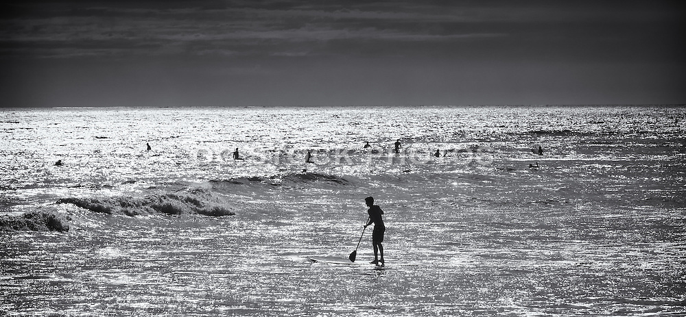 Black And White Photo Of A Stand Up Paddler And Local Surfers