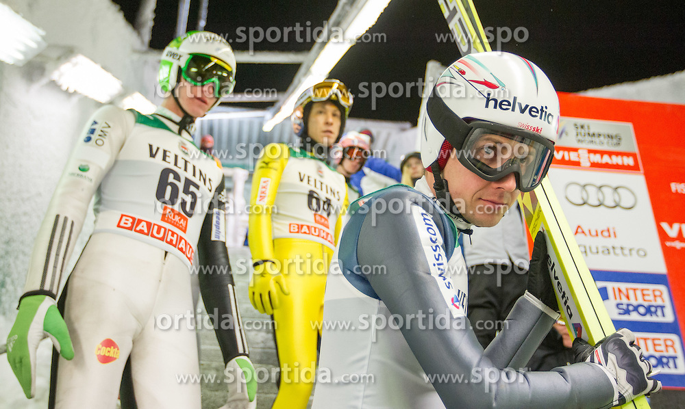 27.11.2014, Nordic Arena, Ruka, FIN, FIS Weltcup Ski Sprung, Kuusamo, Training, im Bild v.l. Peter Prevc (SLO), Noriaki Kasai (JPN) und Simon Ammann (SUI) // during Mens Training of FIS Ski Jumping World Cup at the Nordic Arena in Ruka, Finland on 2014/11/27. EXPA Pictures © 2014, PhotoCredit: EXPA/ JFK