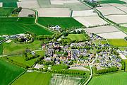 Nederland, Friesland, Gemeente Dongeradeel, 07-05-2018; terpdorp Hantum met Nicolaaskerk.<br /> Frisian village on and around dwelling mound.<br /> <br /> luchtfoto (toeslag op standaard tarieven);<br /> aerial photo (additional fee required);<br /> copyright foto/photo Siebe Swart