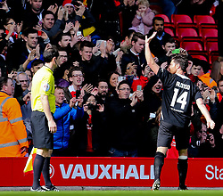 Xabi Alonso applauds the crowd as he is substituted - Photo mandatory by-line: Dougie Allward/JMP - Mobile: 07966 386802 - 29/03/2015 - SPORT - Football - Liverpool - Anfield Stadium - Gerrard's Squad v Carragher's Squad - Liverpool FC All stars Game