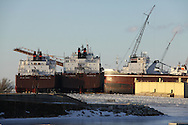 Bay Ship, owned by Fincanteri, Palmer Johnson, and working tugs in Sturgeon Bay