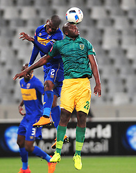 Cape Town--180401  Golden Arrows midfielder Musa Bilankulu challenged by Thami Mkhize  of Cape Town City  in a PSL game at the Cape Town Stadium. .Photographer;Phando Jikelo/African News Agency/ANA
