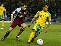 Photo: Paul Greenwood.<br />Burnley v Norwich City. Coca Cola Championship. 17/04/2007.<br />Norwich's Robert Earnshaw, (R) is closed down by Michael Duff