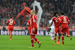 01.03.2014, Allianz Arena, Muenchen, GER, 1. FBL, FC Bayern Muenchen vs Schalke 04, 23. Runde, im Bild Freude bei Arjen Robben (FC Bayern Muenchen) nach seinem Tor zum 5:1 // during the German Bundesliga 23th round match between FC Bayern Munich and Schalke 04 at the Allianz Arena in Muenchen, Germany on 2014/03/01. EXPA Pictures © 2014, PhotoCredit: EXPA/ Eibner-Pressefoto/ Stuetzle<br /> <br /> *****ATTENTION - OUT of GER*****