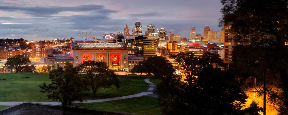 Kansas City Missouri skyline panorama photo at dusk, September 2016.