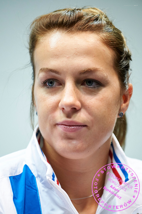 Anastasia Pavyuchenkova from Russia during official press conference three days before the Fed Cup / World Group 1st round tennis match between Poland and Russia at Krakow Arena on February 4, 2015 in Cracow, Poland<br /> Poland, Cracow, February 4, 2015<br /> <br /> Picture also available in RAW (NEF) or TIFF format on special request.<br /> <br /> For editorial use only. Any commercial or promotional use requires permission.<br /> <br /> Mandatory credit:<br /> Photo by &copy; Adam Nurkiewicz / Mediasport