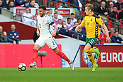 Kyle Walker of England dribbling and starting an attack during the FIFA World Cup Qualifier group stage match between England and Lithuania at Wembley Stadium, London, England on 26 March 2017. Photo by Matthew Redman.