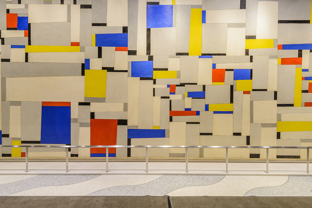 "Fritz Garner painting, ""Relational Painting"", Time & Life Building (lobby). 1271 6th Ave, New York City, New York"