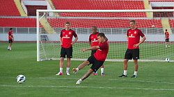 NOVI SAD, SERBIA - Monday, September 10, 2012: Wales' captain Aaron Ramsey during a training session at the Karadorde Stadium ahead of the 2014 FIFA World Cup Brazil Qualifying Group A match against Serbia. (Pic by David Rawcliffe/Propaganda)