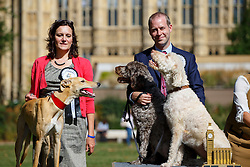 © Licensed to London News Pictures. 08/09/2016. London, UK. JONATHAN REYNOLDS MP (R) wins the Westminster Dog of the Year competition with his dogs 'Clinton' and 'Kennedy' in Victoria Tower Gardens, London on Thursday, 8 September 2016. REBECCA HARRIS MP (L) gets the second price with her Lurcher dog 'Milo'. Photo credit: Tolga Akmen/LNP
