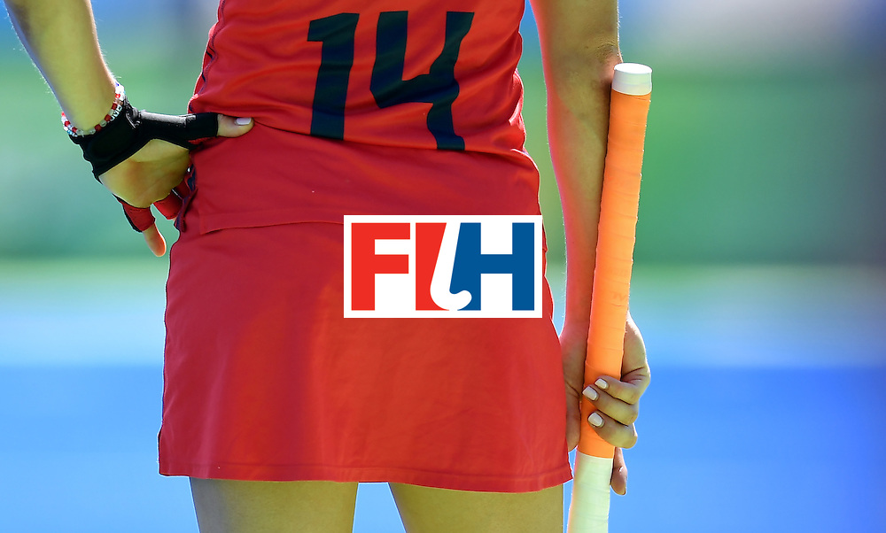 The USA's Katie Reinprecht waits for playing on the sidelines during the women's quarterfinal field hockey USA vs Germany match of the Rio 2016 Olympics Games at the Olympic Hockey Centre in Rio de Janeiro on August 15, 2016. / AFP / MANAN VATSYAYANA        (Photo credit should read MANAN VATSYAYANA/AFP/Getty Images)