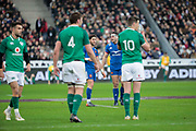 Guilhem Guirado (FRA) and Maxime Machenaud (FRA) satisfaction, Jonathan Sexton (IRL), Iain Henderson (IRL), referee during the NatWest 6 Nations 2018 rugby union match between France and Ireland on February 3, 2018 at Stade de France in Saint-Denis, France - Photo Stephane Allaman / ProSportsImages / DPPI