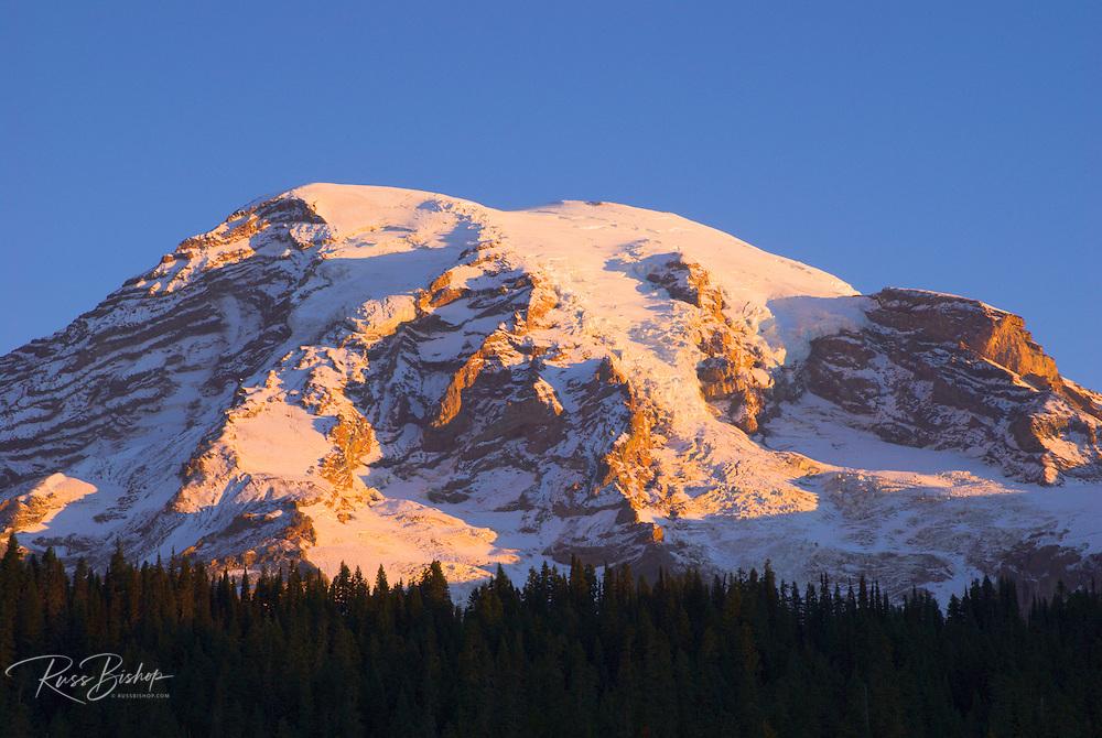 Dawn light on Mount Rainier, Mount Rainier National Park, Washington