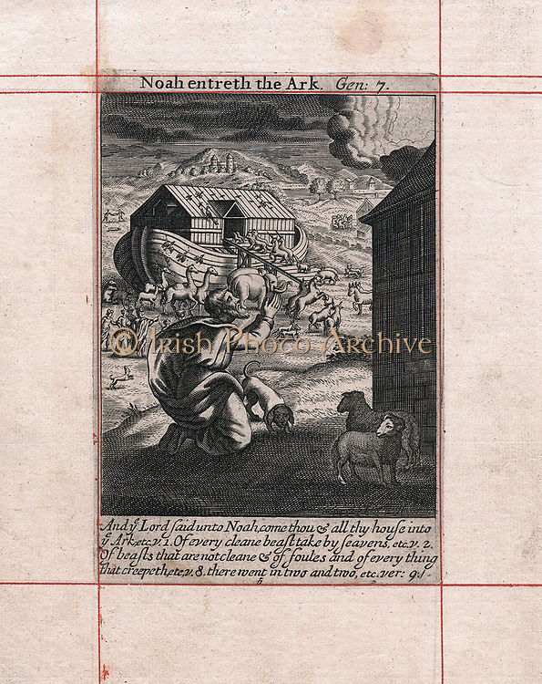 Noah's Ark - the animals going in two by two. God saving the chosen from the flood sent as a punishment to the masses. 'Bible' Genesis 7. Some climatologists suggest the flood on which legend is based was caused by global warming. Copperplate engraving of 1716.
