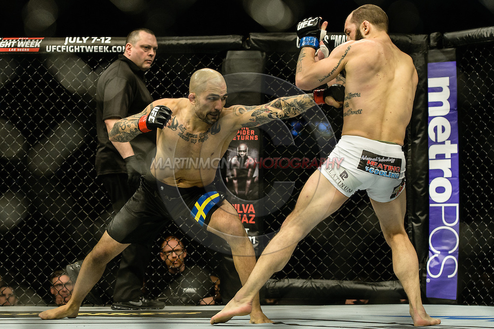 "STOCKHOLM, SWEDEN, JANUARY 24, 2015: Sam Sicilia and Akira Corassani during ""UFC on Fox 14: Gustafsson vs. Johnson"" inside Tele2 Arena in Stockholm, Sweden"