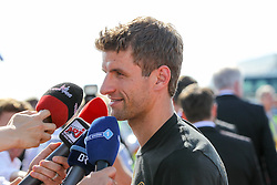 15.07.2014, Flughafen, München, GER, FIFA WM, Empfang der Weltmeister in Deutschland, Finale, im Bild Thomas Mueller #13 (Deutschland) beim Interview // during Celebration of Team Germany for Champion of the FIFA Worldcup Brazil 2014 at the Flughafen in München, Germany on 2014/07/15. EXPA Pictures © 2014, PhotoCredit: EXPA/ Eibner-Pressefoto/ Christian Kolbert<br /> <br /> *****ATTENTION - OUT of GER*****
