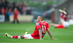 WREXHAM, WALES - Monday, May 7, 2012: Wrexham's Jake Speight looks dejected as his side lose 3-2 on aggregate (2-1) to Luton Town during the Football Conference Premier Division Promotion Play-Off 2nd Leg at the Racecourse Ground. (Pic by David Rawcliffe/Propaganda)