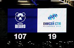 A screen displays the final score between Bristol Bears v Enisei-STM - Mandatory by-line: Nizaam Jones/JMP - 19/01/2019 - RUGBY - Ashton Gate Stadium - Bristol, England - Bristol Bears v Enisei-STM - European Rugby Challenge Cup