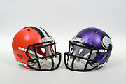 A view of Cleveland Browns and Minnesota Vikings helmets on Thursday, November 2, 2017. (Kirby Lee via AP)