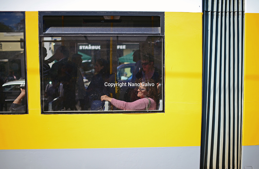 Woman in tram window, Belem, Lisbon