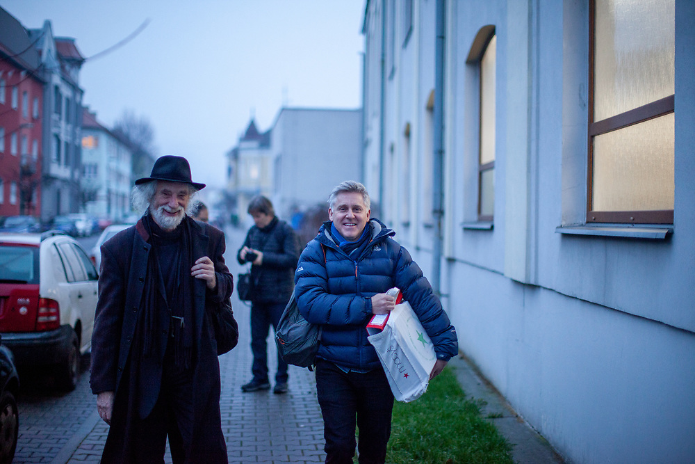Prof. Mgr. Jindřich Štreit and his former strudent Gary Freeman on the way to his is exhibition opening in Lovosice, Czech Republic.