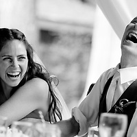 Dan and Lisa react to toasts during their Whistler wedding at the Brew Creek Lodge.