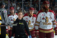 REGINA, SK - MAY 22:  Athletic Therapist Melanie Landry walks to the bench with Jeffrey Truchon-Viel #25 and Liam Murphy #61 of Acadie-Bathurst Titan against the Hamilton Bulldogs at Brandt Centre - Evraz Place on May 22, 2018 in Regina, Canada. (Photo by Marissa Baecker/Getty Images)