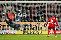 08.04.2015, BayArena, Leverkusen, GER, DFB Pokal, Bayer 04 Leverkusen vs FC Bayern Muenchen, Viertelfinale, im Bild Torwart Manuel Neuer (FC Bayern Muenchen #1) mit einer Parade gegen Josip Drmic (Bayer 04 Leverkusen #9) // during the German DFB Pokal quarter final match between Bayer 04 Leverkusen and FC Bayern Munich at the BayArena in Leverkusen, Germany on 2015/04/08. EXPA Pictures &copy; 2015, PhotoCredit: EXPA/ Eibner-Pressefoto/ Schueler<br /> <br /> *****ATTENTION - OUT of GER*****