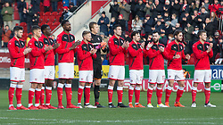 Rotherham United players stand together during  minutes applause - Mandatory by-line: Ryan Crockett/JMP - 20/01/2018 - FOOTBALL - Aesseal New York Stadium - Rotherham, England - Rotherham United v Portsmouth - Sky Bet League One