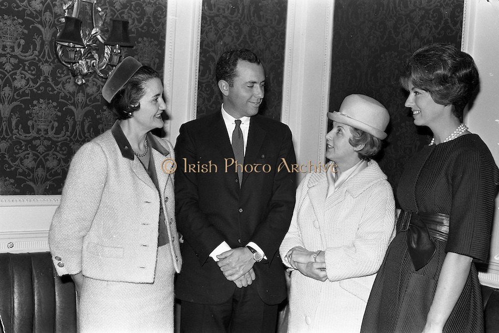 23/03/1963<br /> 03/23/1963<br /> 23 March 1963<br /> Harpers' Bazaar personnel at the Gresham Hotel, Dublin. Pictured are (l-r): Mrs Mary McDonough-Phillips, Executive Editor, Harpers Bazaar; Mr William Fine, Publisher, Harpers Bazaar; mrs, D. Crosbie and Mrs William Fine.