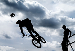 BMX riders at the Brownstock Festival in Essex.