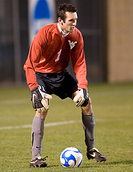 West Virginia goalkeeper Zach Johnson (1)..The West Virginia Mountaineers defeated the Virginia Cavaliers 1-0 in the second round of the 2007 NCAA Men's Soccer Tournament at Dick Dlesk Stadium in Morgantown, WV on November 28, 2007.