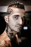 Napoli, Italia - Passerotto, ha tatuaggi sulla testa, viso e su tutto il resto del corpo.<br /> Ph. Roberto Salomone