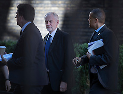 © Licensed to London News Pictures. 06/07/2016. London, UK.  Labour Party Leader Jeremy Corbyn (C) walks to Parliament with fellow Labour MPs Steve Rotheram (L) and Clive Lewis on the day the Iraq Inquiry, Chaired by Sir John Chilcot, is finally published.  Photo credit: Peter Macdiarmid/LNP