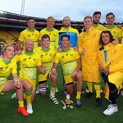 The Australia team. Day two of the 2017 HSBC World Sevens Series Wellington at Westpac Stadium in Wellington, New Zealand on Sunday, 29 January 2017. Photo: Dave Lintott / lintottphoto.co.nz