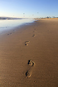 Footprints in the Sand at Huntington Beach