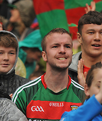 Mayo fans shouting on the team during the closing minutes of All Ireland Semi Final against Kerry at Croke Park.<br /> Pic Conor McKeown